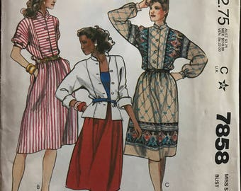 McCalls 7858 - 1980s Button Front Top with Stand Up Collar and Gathered Skirt in Below Knee Length - Size 16 Bust 38