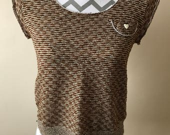 Vintage 70s stretch textured brown top
