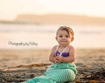 Crochet Mermaid tail with Top and Starfish headband, 3 PC Mermaid tail baby/ toddler, Baby mermaid photo prop, Little Mermaid birthday party