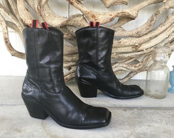 Vintage Guess Black Leather Cowboy Boots / Square Toe & Chunky Heel / Made in Spain / Women's Size US 9