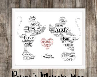 Personalised Mickey & Minnie, 2 x Minnie and 2 x Mickey Mouse Word Art A4 Print Disney Inspired Wedding Engagement Anniversary Gift 21x30cm