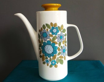 Vintage china - Meakin studio coffee pot in 'Topic' pattern.