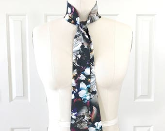 "Black floral scarf in silk is 53"" x 2"". Ladies Floral Neck Scarf. Narrow Floral Scarf. Choker Scarf. Ascot. Bow Scarf. Silk Floral Sash."