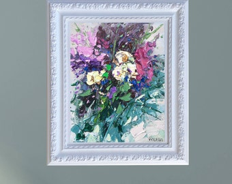 White Flowers Art Abstract Flowers Painting Pansy Flowers Original Oil on Canvas Modern Floral Art Framed Art Romantic Art Gifts for Women
