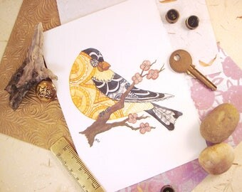 Watercolor American Goldfinch Print Greeting Card