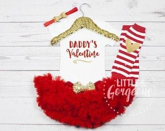 Daddy's Valentine Outfit, Girls Valentine Onesie, First Valentine Outfit, Valentine Onesie, Daddy's Girl Onesie, Valentines Day, xoxo