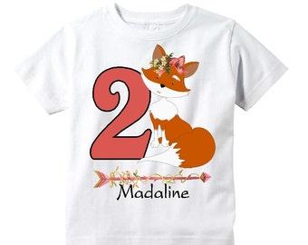 Woodland Fox Birthday Shirt Youth Toddler Infant Adult  p312