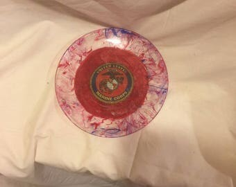 "Marine Corp Red White Blue Hand Painted Decoupage 7"" Glass Plate"