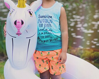 Toddler Summertime Teal Ombre Tank Top