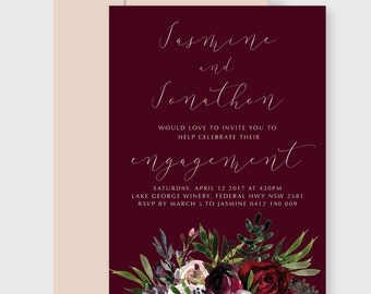 Engagement Party Invitation | Printable | Calligraphy Deep Berry & Floral