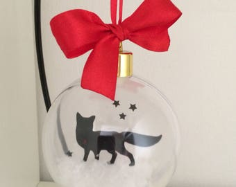 Fox Sihouette in Snow Acrylic Bauble