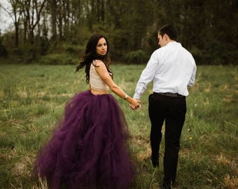 Eggplant Tulle Skirt Sewn Tutu Purple Knee Tea Or Full Length Wedding Skirt Tulle Over Skirt Engagement Photos Wedding Dress Alternative