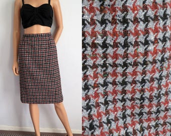 Wool tweed winter skirt, french vintage, tan brown & grey, high waisted, pencil straight cut, knee length, small