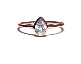 Pear Ring-Drop Ring-Gold Ring-14K Gold Ring-14K Gold Solitaire Ring-Solitaire Drop Ring-14K Gold Solitaire Drop Ring