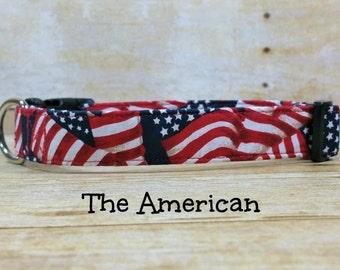 American Flag Dog Collar, Stars and Strips Dog Collar, Patriotic Dog Collar, 4th of July Dog Collar, Flag Dog Collar, USA Custom Dog Collar