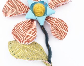 Fabric Flower, handmade stitched, forever flower, printed fabric, orange flower, home decor , flower and vase, wooden vase, Mothers day gift