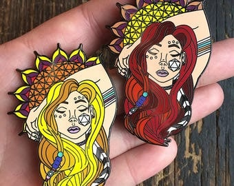 "Odesza ""Sun Models"" SET OF 2 Pins Rave EDM Music Festival Snapback Hat Lapel Fan Art"