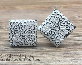 "SET OF 2 - Square or Diamond White ""Lace"" Inspired Distressed Metal Pewter Knob - Rustic Shabby Chic Painted Drawer Pull"