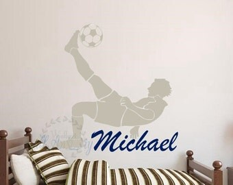 Boy's name wall decals Soccer wall decals Sports wall sticker Name wall decals Boy's room wall decals Nursery wall decal