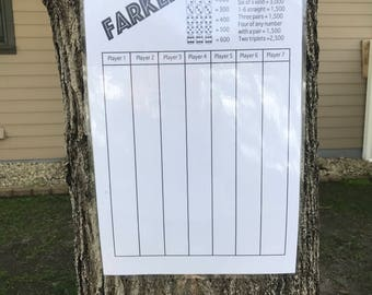 11x17 Jumbo Farkle score card - scorecard - score sheet