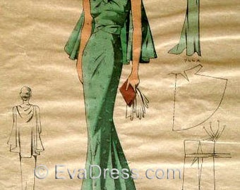 1930's Dinner Gown & Cape Pattern by EvaDress!