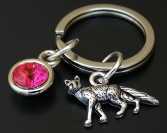 Fox Keychain, Custom Keychain, Custom Key Ring, Fox Key Chain, Fox Charm, Fox Pendant, Fox Jewelry Fox Gift, Fox Girl, Woodland Keychain