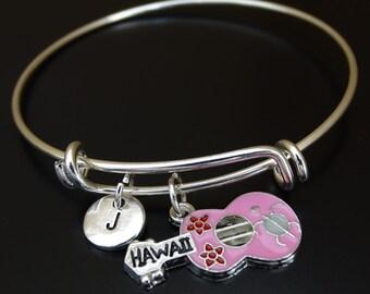 Hawaii Bangle Bracelet, Adjustable Expandable Bangle Bracelet, Hawaii Charm, Hawaii Jewelry, Hawaii Pendant,Ukulele Bracelet,Ukulele Jewelry