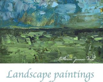 Oil Landscape Painting. Blue & Green Wall Decor. Landscape Art. Gift for Men. 2