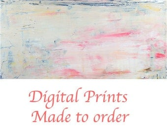 Pink & Yellow Pastel Painting Print. Abstract Landscape Painting. Digital Living Room Home Wall Art Prints. Art By Katie Jeanne