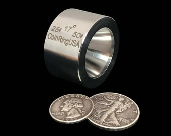 """25 cent & 50 cent """"STABILIZER""""/Folding/Reduction Die for the US Quarter and Half Dollar, made of Hardened Stainless Steel @ 17-Degree Tapers"""