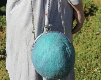 Felt Handbag Bag - Wet Felted Australian Blue Wool handbag - Hand made