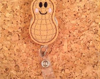 PEANUT Badge Reel, Id Badge Reel, FELT Badge Reel, Retractable ID Name Holder, Nurse Gift,  Teacher Gift, 1120