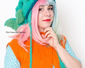 Ready-to-ship Fish hat LINED with fleece adult size crochet, earflap hat turcoise fish hat