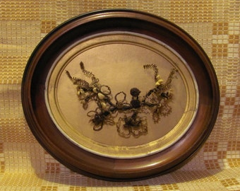 Mourning Hairwork Original Family Multi-colored Hair Flowers Antique Walnut Oval Shadowbox Frame