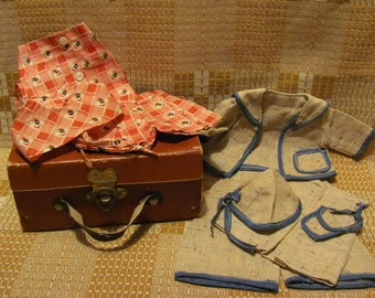 Antique Doll Suitcase & Two Vintage Doll Outfits