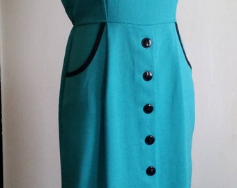 Vintage 1960's Turquiose Teal Blue Retro Wiggle Dress