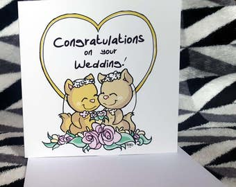 LGBT Wedding Card: Cats