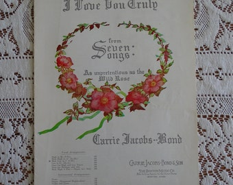 1938 Sheet Music 'I Love You Truly' Words & Music by Carrie Jacobs Bond, Composer's Musical Listing, Wedding Song, Boston Music Company ~
