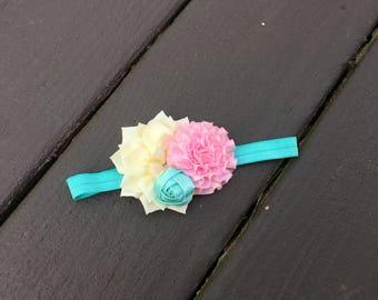 Baby Shabby Chic Headband - Elastic Headband - Shabby Bow - Shabby Headband - Pink Aqua Bow - Pink Cream Bow - Cute Bow - Pretty Bow