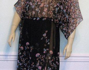Vintage Dress Victor Costa Sheer 1970s Black Floral
