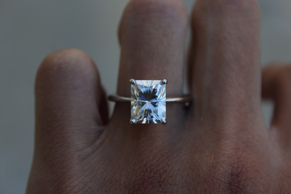 10x8mm Radiant Cut Supernova Moissanite Solitaire Engagement