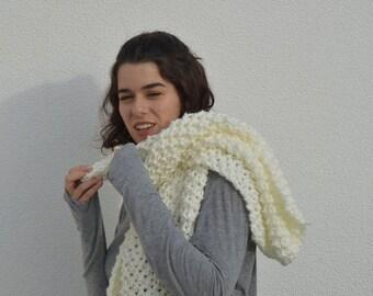 White Pearl Wrap ~ shawl ~ hood scarf