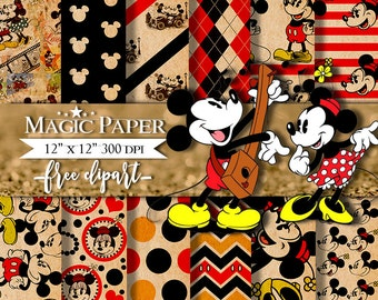 50% OFF SALE Mickey Mouse Minnie Vintage Old Digital Paper Clipart Clip Art