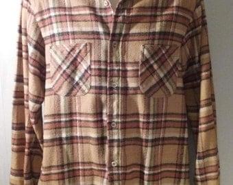 "Vintage BIG MAC Large Cotton Plaid Flannel Work Shirt ""Tall Sizes"" JC Penney"