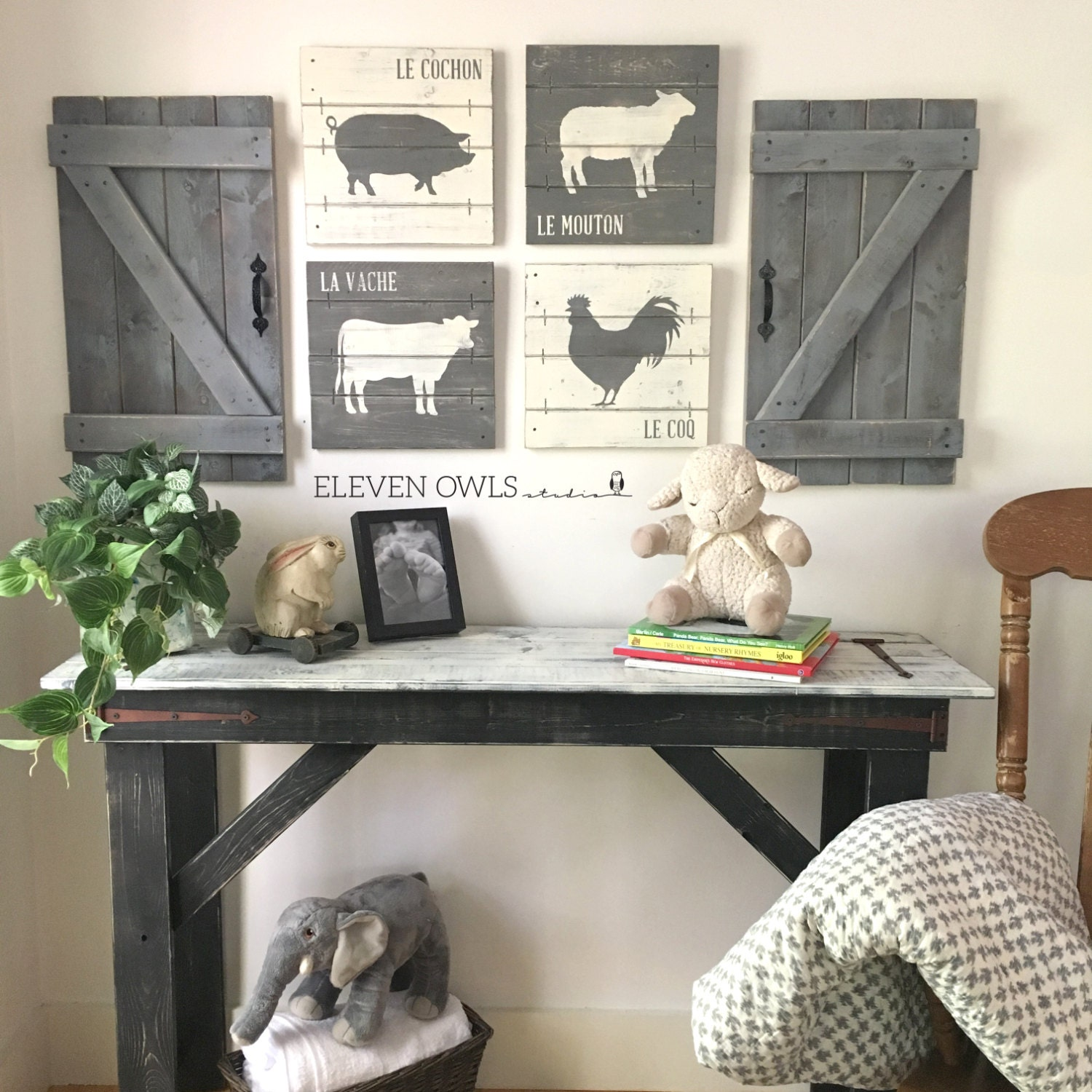 Farmhouse Nursery Decor 4 Pcs Set Rustic Nursery Sets