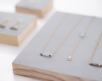 Necklace PANAMA natural light blue Agate dainty gold filled chain