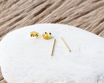 1 mm or 1.2 mm Very Tiny Ball Stud Earrings, 18K Gold Plated 925 Sterling Silver, Itty-Bitty Stud, Cartilage Earrings  - SA124-125