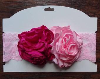 Pink Fuschia Headband, Lace Headband, Singed Flower Headband, Newborn Headband, Cakesmash Headband, Photoprop Headband, Pink Flower Headband