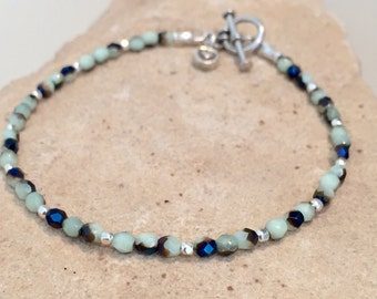 Blue bracelet, Czech glass bead bracelet, sterling silver bracelet, Hill Tribe silver bracelet, heart charm, charm bracelet, gift for her