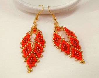 Russian Leaf Earrings in Orange and Gold, Seed Bead Earrings, Peyote Earrings, Beaded Earrings - MADE TO ORDER